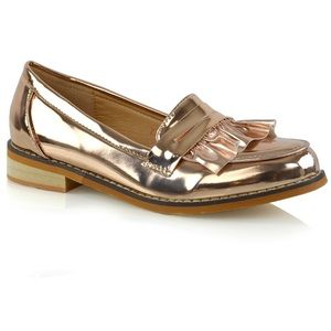 Essex Glam Rose Gold Metallic Ruffle Penny Loafers